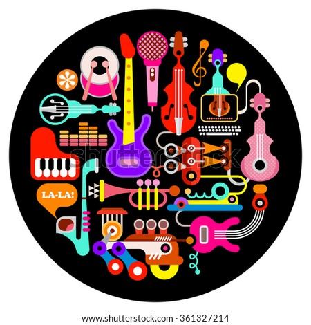Musical instruments - round vector illustration on black background.  - stock vector