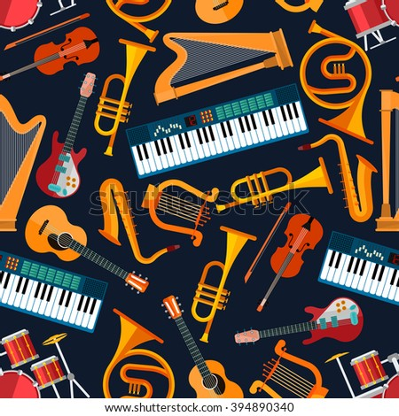 Musical instruments seamless pattern with drum set, acoustic and electric guitars, violin and synthesizer, saxophone and trumpet, harp, ancient lyre and horn. Art and musical entertainment themes - stock vector