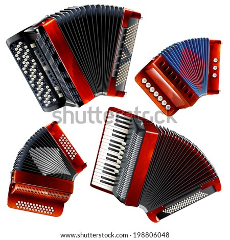 Musical instruments series. Set of classical bayans (accordions), isolated on white background  - stock vector