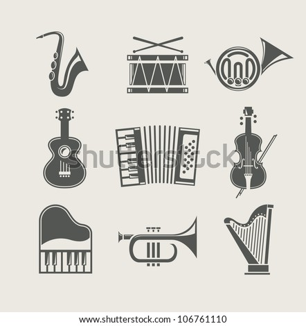 musical instruments set of icons vector illustration - stock vector