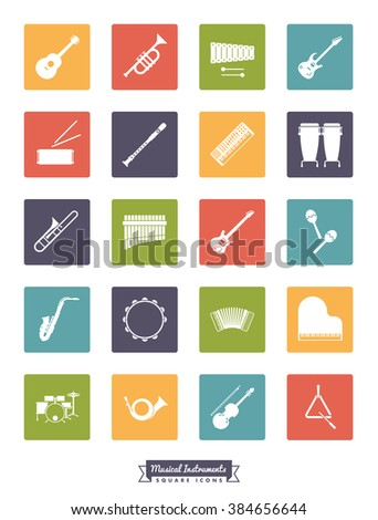 Musical instruments square silhouette icon set. Collection Of 20 Musical Instruments Glyphs in colored rounded squares - stock vector