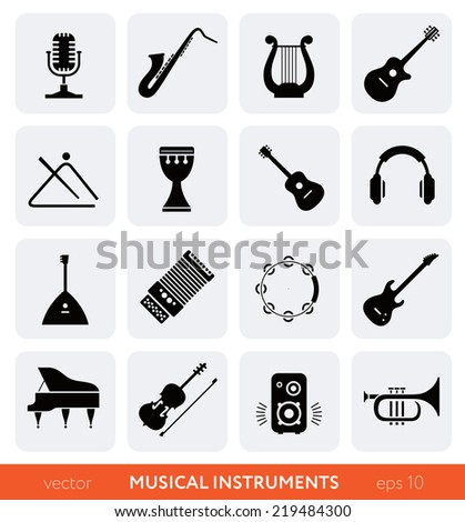 Musical instruments - vector black icons set on gray - stock vector