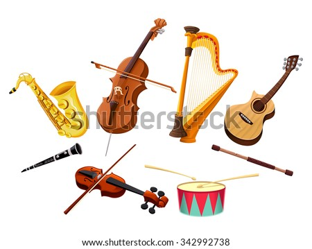 Musical instruments. Vector isolated objects - stock vector