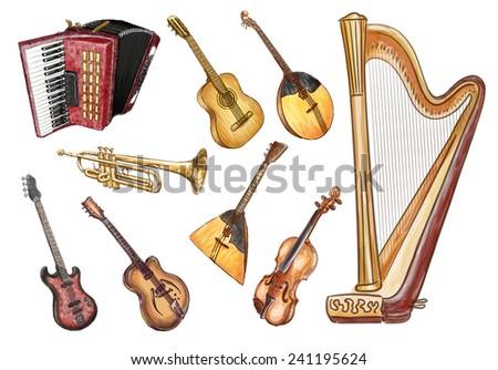 Musical instruments. Vector set. - stock vector