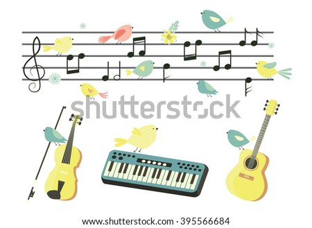 Musical instruments. Vector set. Music. Guitar, violin, accordion, drum. Music notes on stave. - stock vector