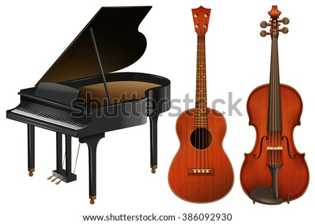 Musical instruments with piano and guitar illustration
