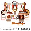 Musical laboratory - abstract vector illustration. Isolated on white background. - stock vector