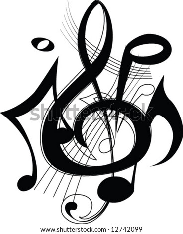 musical lines with notes. Vector illustration - stock vector
