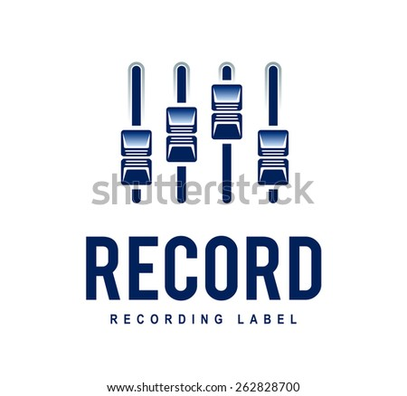 Musical logo design template. Audio mixer sliders. Recording studio. Vector art. - stock vector