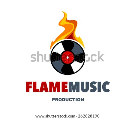 Musical logo design template. Burning vinyl disc. Vector art. - stock vector