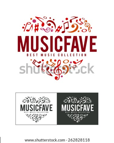 Musical logo design template. Notes heart shape. Vector art. - stock vector