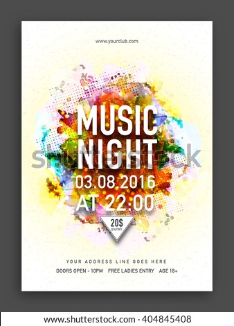 Musical Night Party Template, Dance Party Flyer, Banner or Club Invitation with colorful abstract design. - stock vector