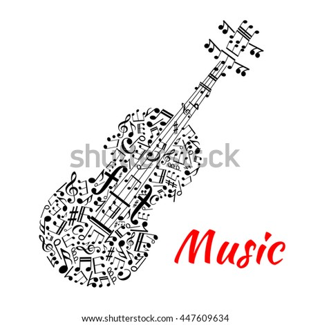 Musical notation symbols and marks arranged into a shape of violin with fingerboard and strings made up of notes, treble and bass clefs. Entertainment or musical events design usage - stock vector