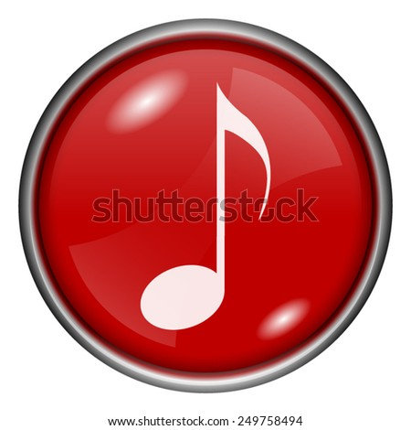 Musical note icon. Internet button on white background.  - stock vector