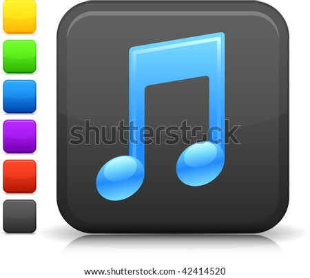 Musical Note icon on square internet button  Six color options included.