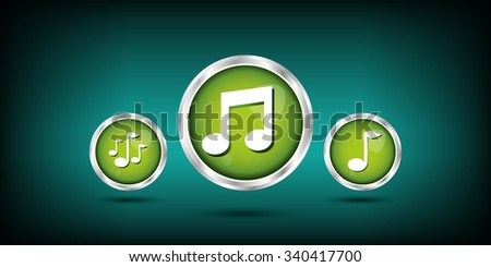 musical note icons - stock vector