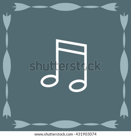 Musical note sign line vector icon. Melody symbol.