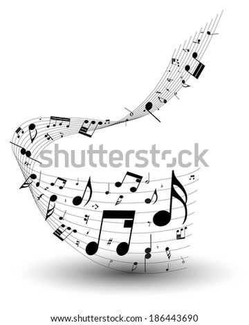 Musical note staff. EPS 10 vector illustration without transparency. - stock vector