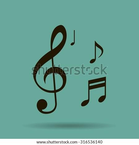 Musical note - Vector icon - stock vector