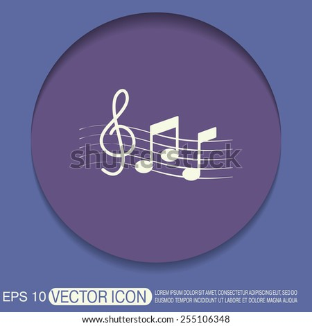Musical notes and treble clef. Symbol. Icon art and musicality - stock vector