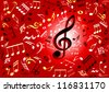 Musical notes flying against red background - stock vector