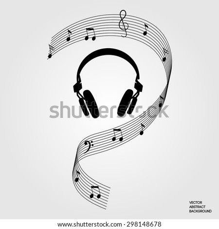 Musical notes. Musical headphones. Music. Listen to music. - stock vector