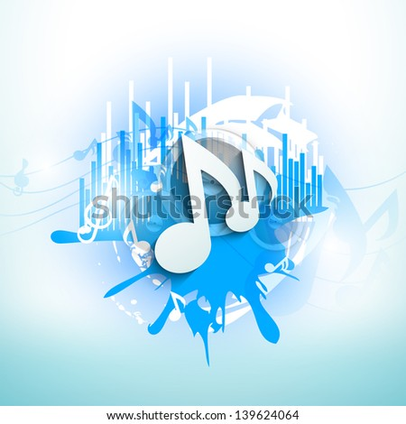 Musical notes on blue grungy background. - stock vector