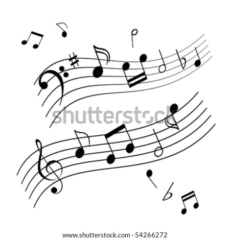 Musical notes on music sheet - stock vector