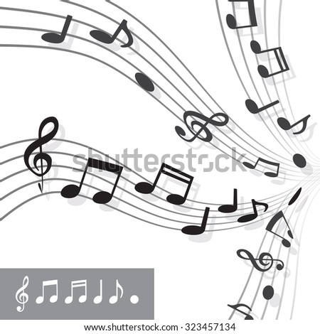 Musical notes on Scale. Music note icon set. Vector illustration - stock vector