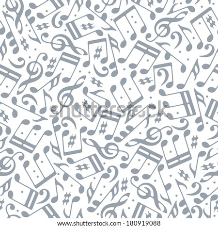 Musical notes seamless pattern, single color vector background. - stock vector