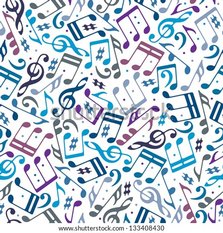 Musical notes seamless pattern, vector background. - stock vector