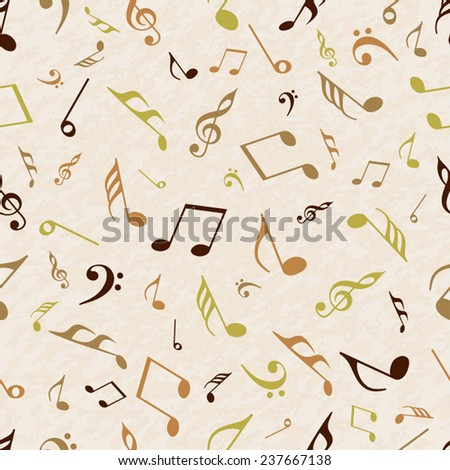 Musical notes seamless pattern wallpaper. - stock vector