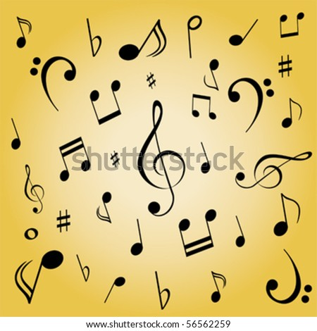 Musical notes spread on gold background - stock vector