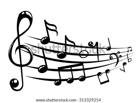 Musical notes staff background with lines. Vector illustration. - stock vector