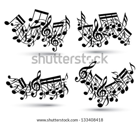Musical notes staff set. Black and white. Music theme vector abstract designs. - stock vector