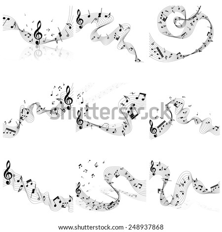 Musical notes staff set. Vector illustration without transparency EPS10. - stock vector