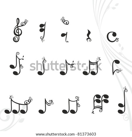 musical notes with floral design elements - stock vector