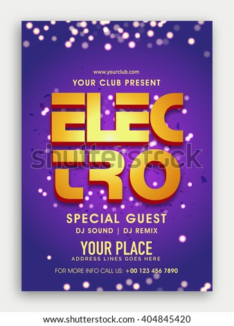 Musical Party Template, Dance Party Flyer, Night Party Banner or Club Invitation with 3D golden text Electro on shiny background.