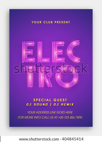 Musical Party Template, Dance Party Flyer, Night Party Banner or Club Invitation with glossy stylish text Electro on purple background. - stock vector