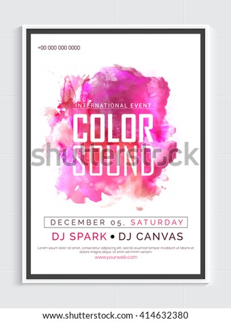 Musical Party Template, Dance Party Flyer, Night Party Banner or Club Invitation with pink abstract design. - stock vector
