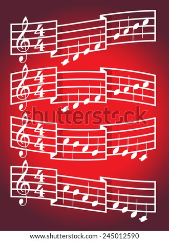Musical scale and bars with notes. Illustration - stock vector