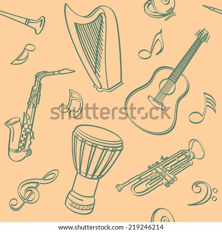 Musical Seamless Background - stock vector