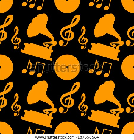 Musical seamless pattern with music notes, treble clef, gramophone. Endless print silhouette texture. Retro. Vintage style - vector  - stock vector