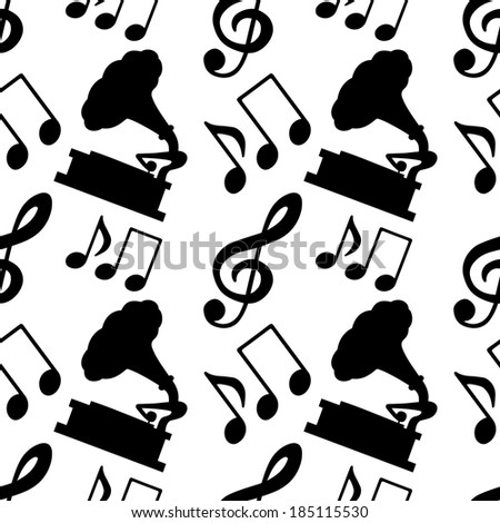 Musical seamless pattern with music notes, treble clef, gramophone in black and white - vector  - stock vector