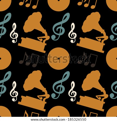 Musical seamless pattern with music notes, treble clef, gramophone, vinyl record - vector  - stock vector