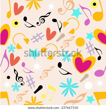 Musical seamless pattern with musical notes and instrument. - stock vector