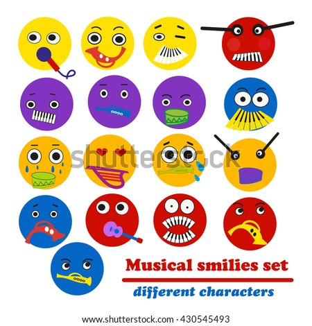 Musical smilies set-different characters. Vector illustration.