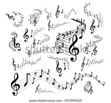 Musical staves on white - stock vector