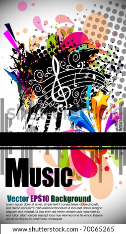 Musical theme background with music tunes and disco ball , Editable Illustration - stock vector