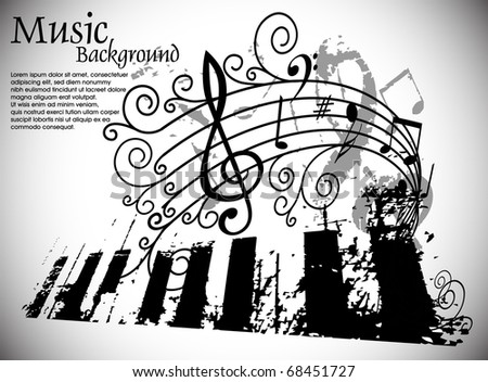 Musical theme background with music tunes, Editable Illustration - stock vector